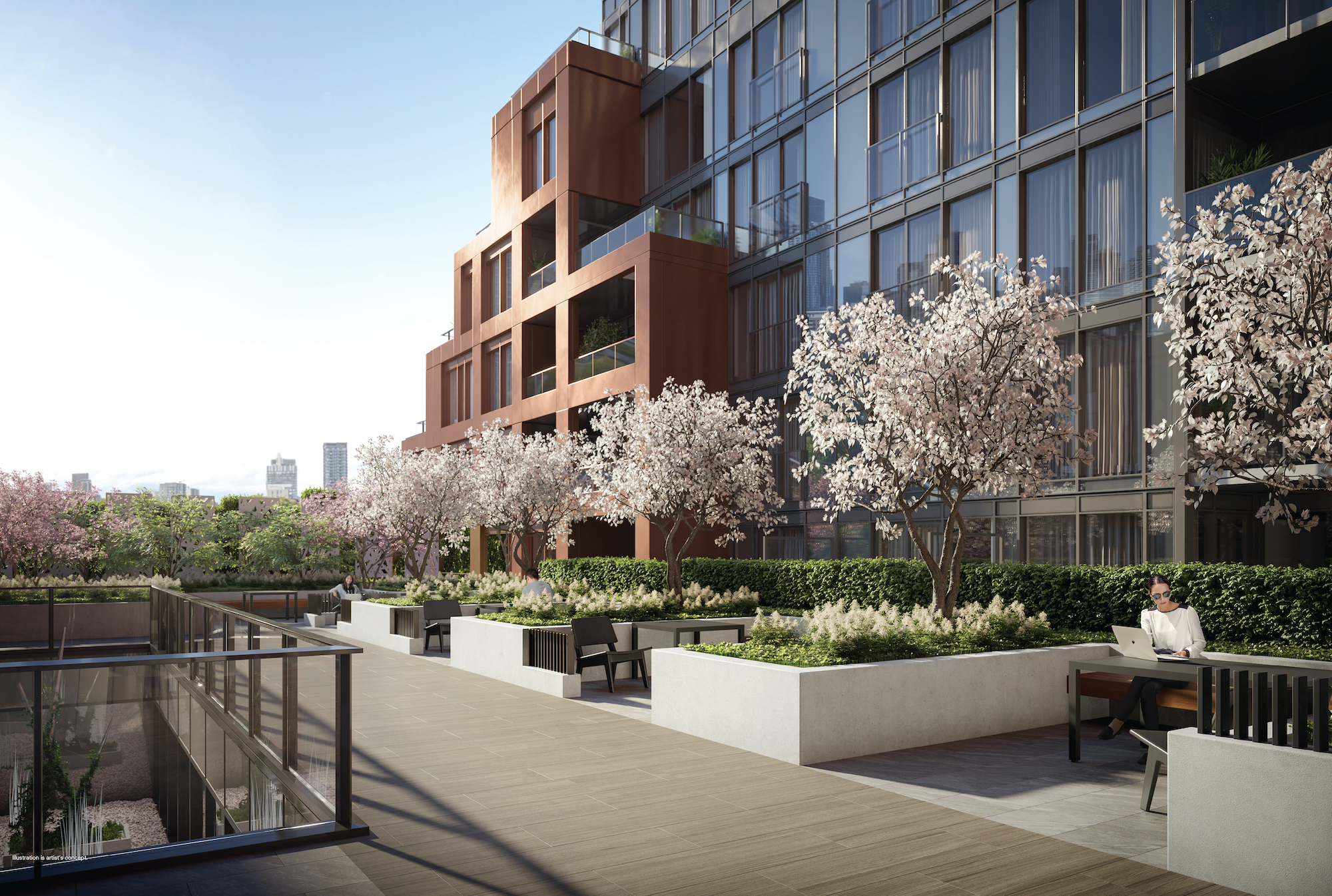 Rendering of 28 Eastern Condos courtyard terrace.