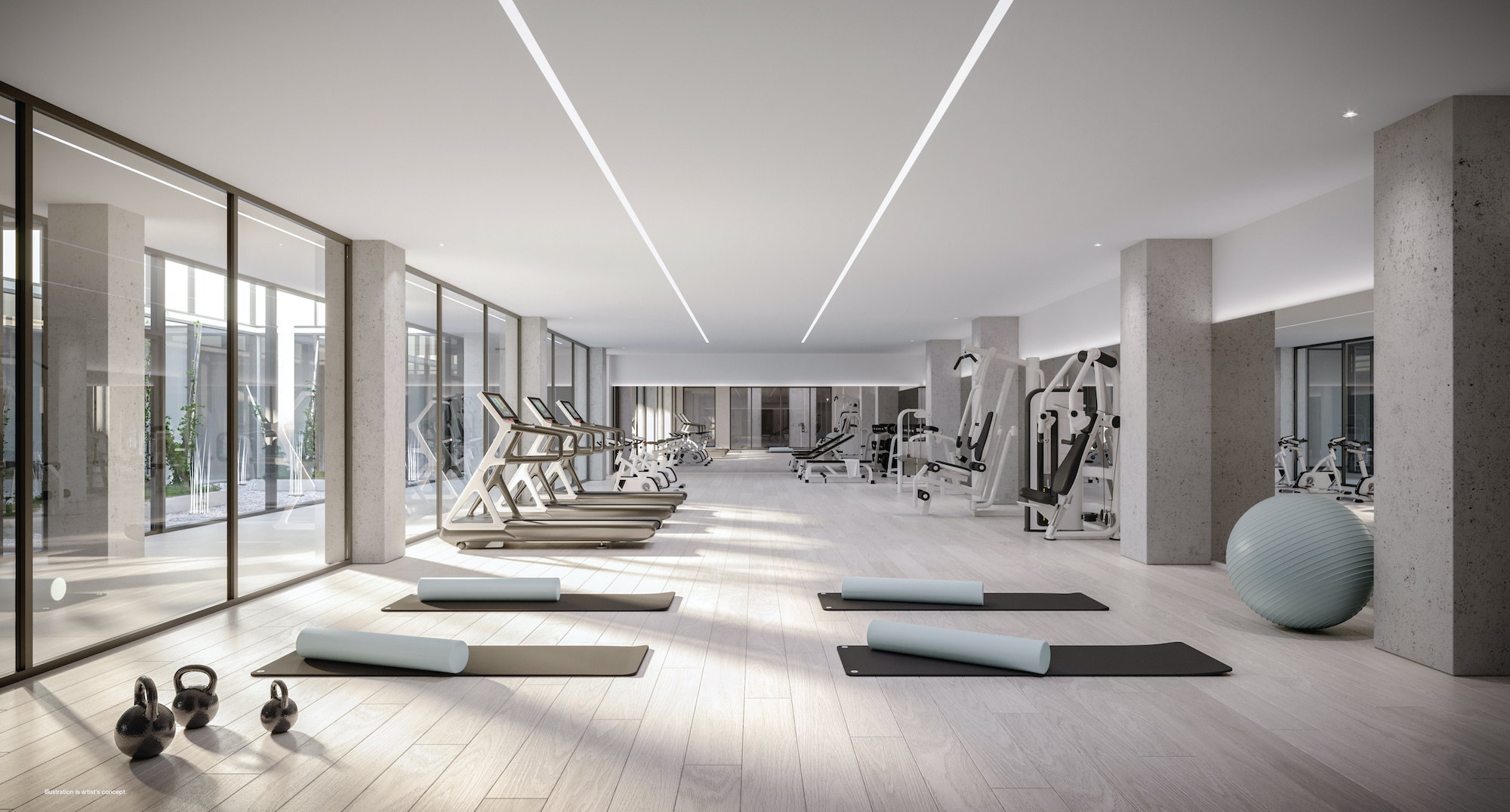 Rendering of 28 Eastern Condos fitness studio.