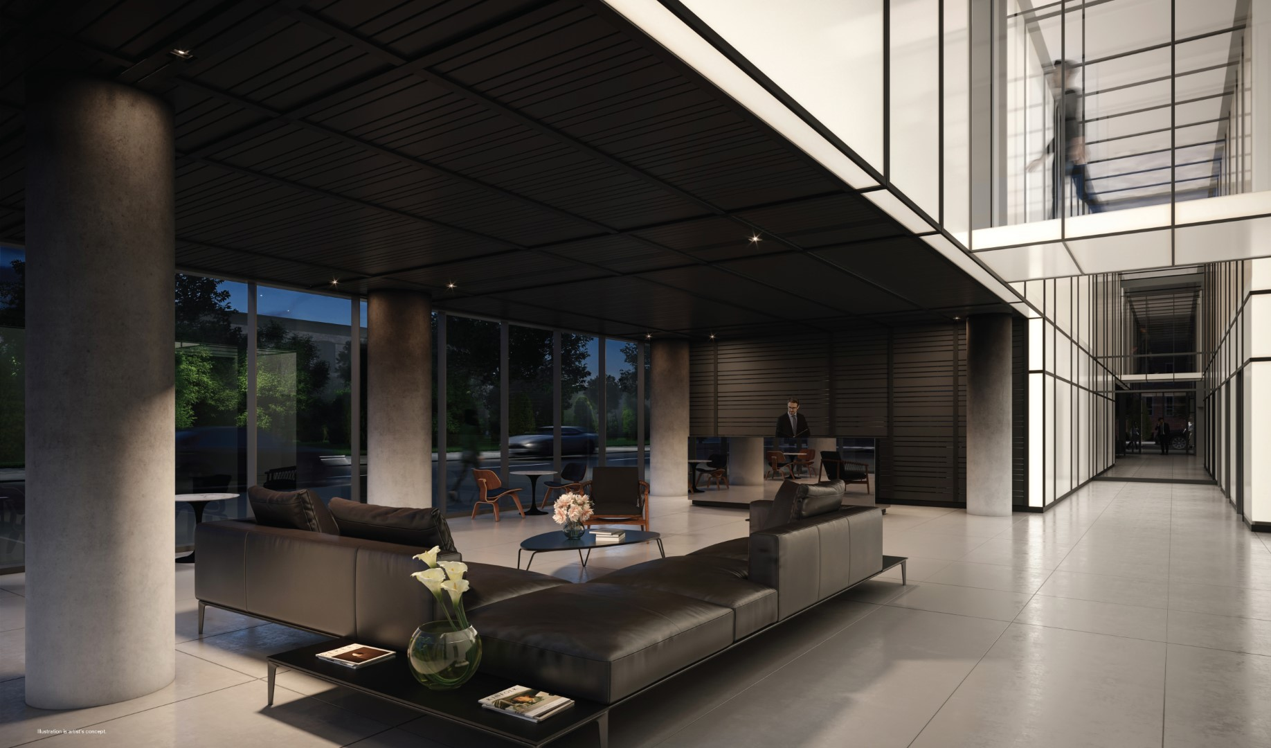 Rendering of 28 Eastern Condos interior lobby at night.