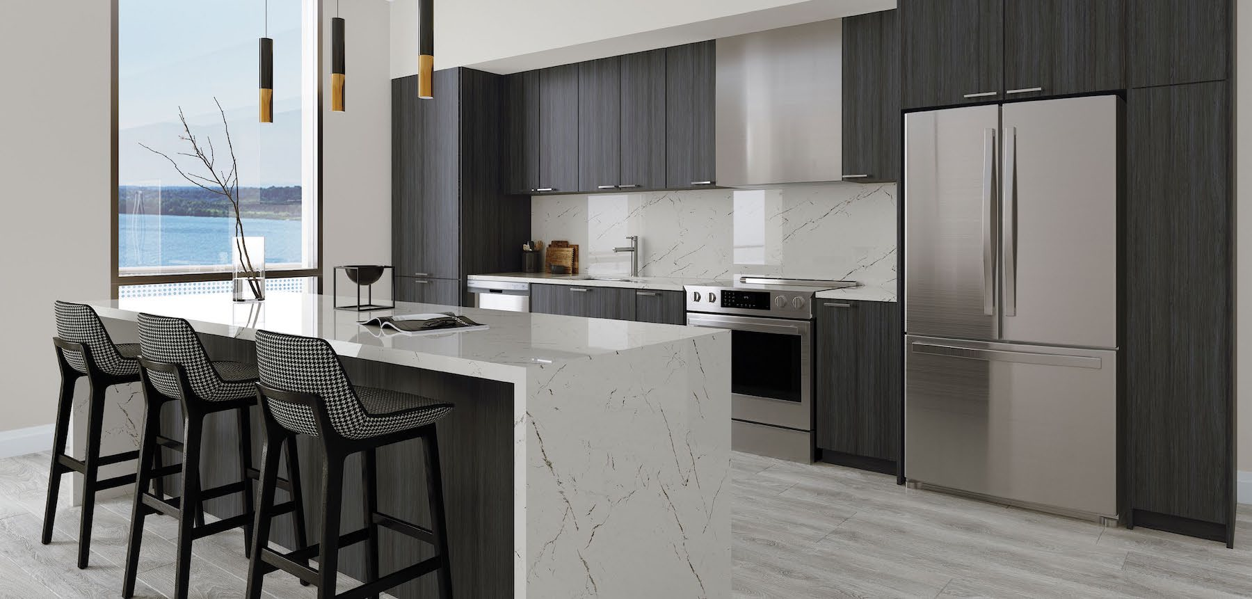Rendering of a Suite Kitchen in the Residence at Five Points Condos