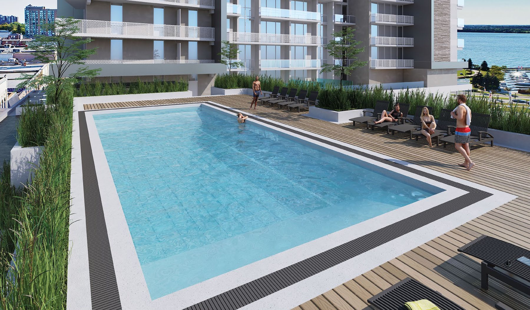 Outdoor Pool Rendering at the Residence at Five Points Condos