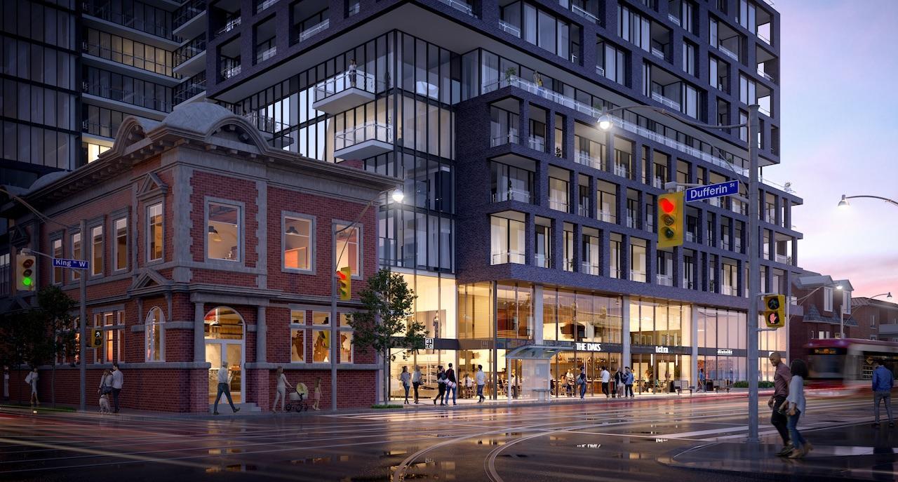 Exterior street-view rendering of XO Condos in Toronto.