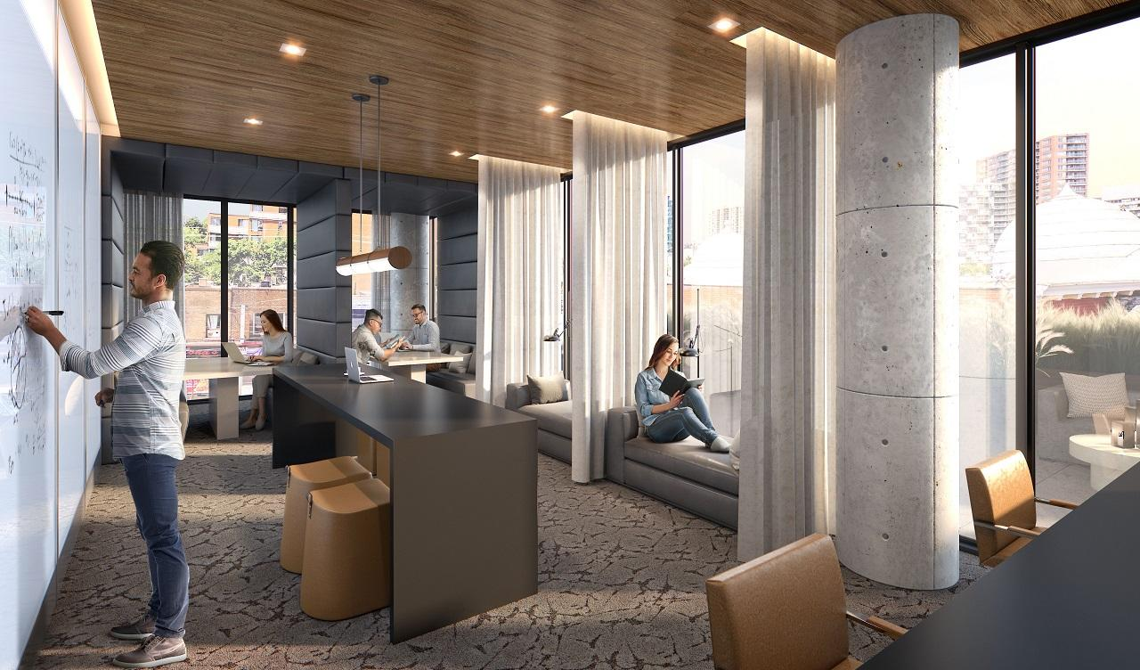 Business lounge rendering of XO Condos in Toronto.