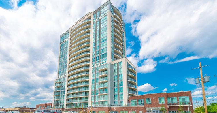 Exterior image of the 2150 Condos in Toronto