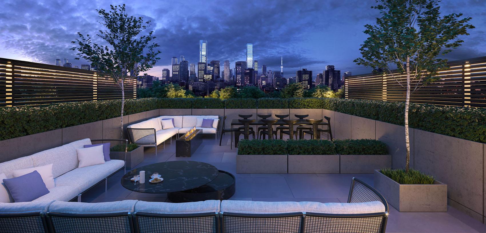 Exterior rendering of 36 Birch Condos rooftop terrace.