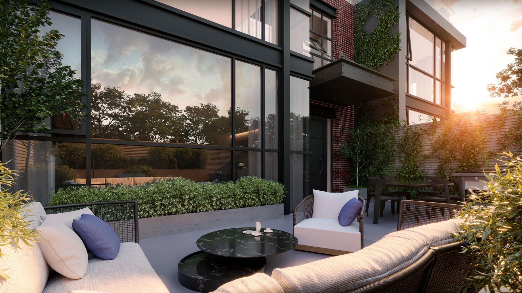 Exterior rendering of 36 Birch Condos outdoor patio.