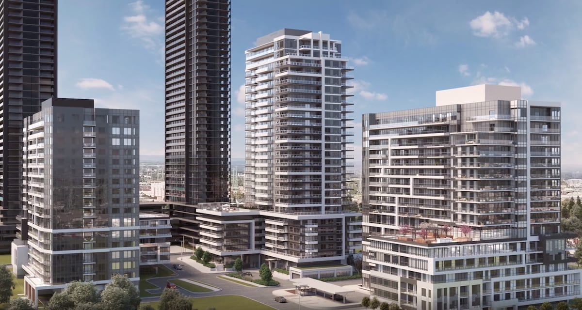 Rendering of Universal City Condos Phase 2 building surrounded by other buildings.