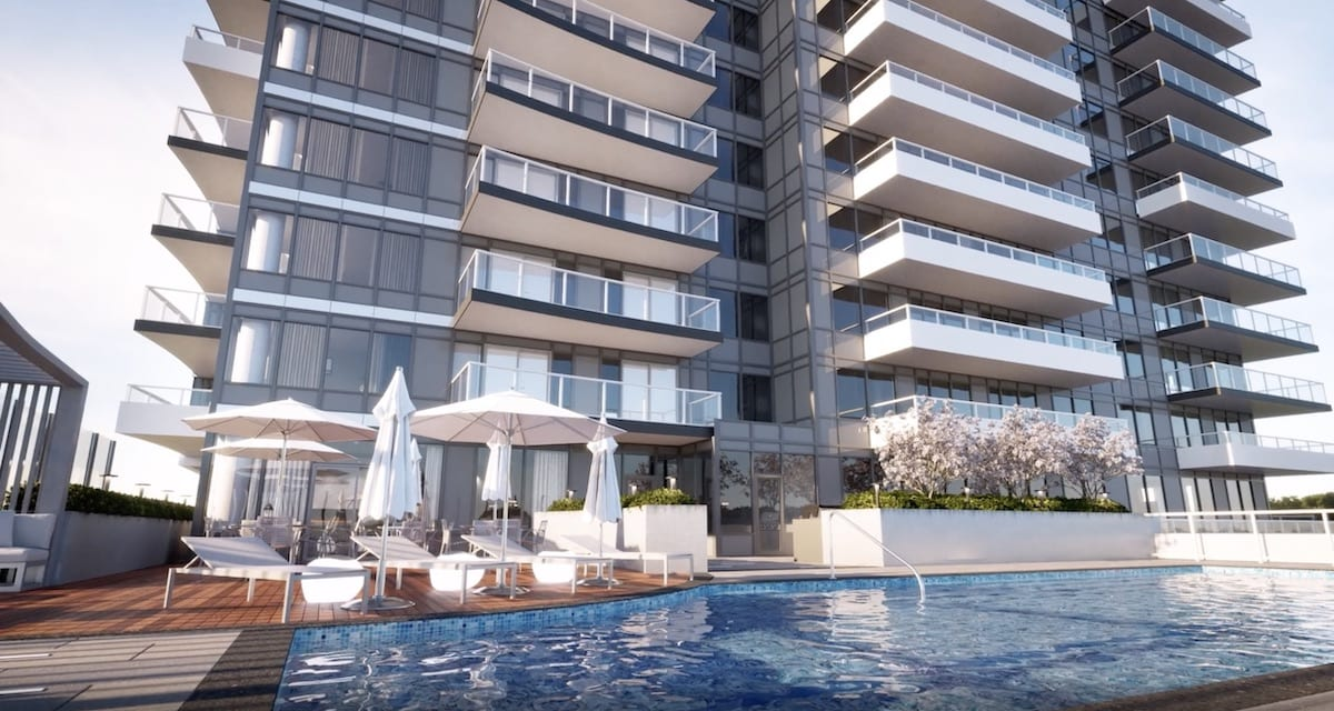 Rendering of Universal City Condos Phase 2 building exterior and swimming pool.