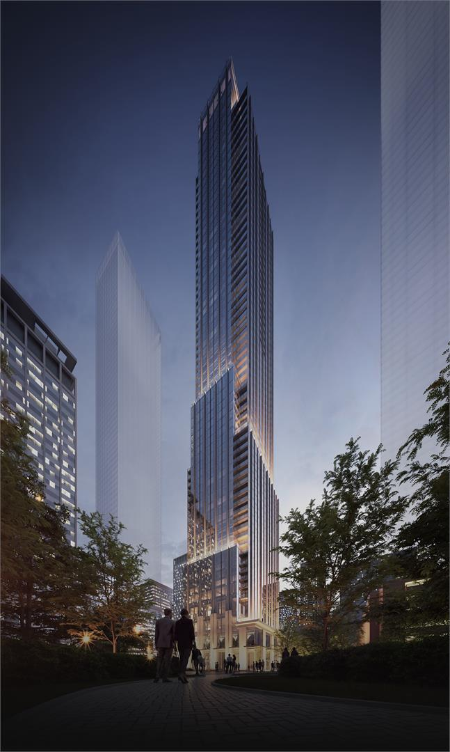 Rendering of CRU 11 Yorkville Condos building exterior in full.