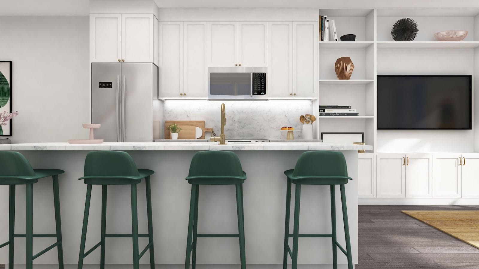 NuTowns Interior Rendering of Kitchen Area