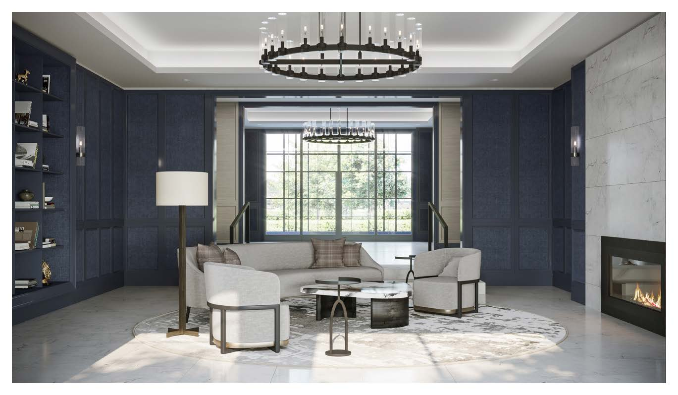 Rendering of Notting Hill Condos party room with lounge.