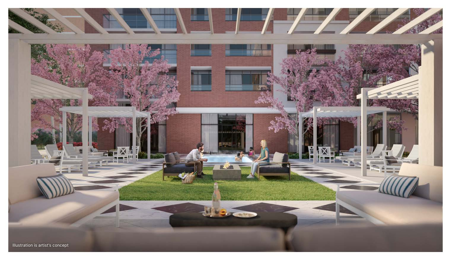 Rendering of Notting Hill Condos terrace.
