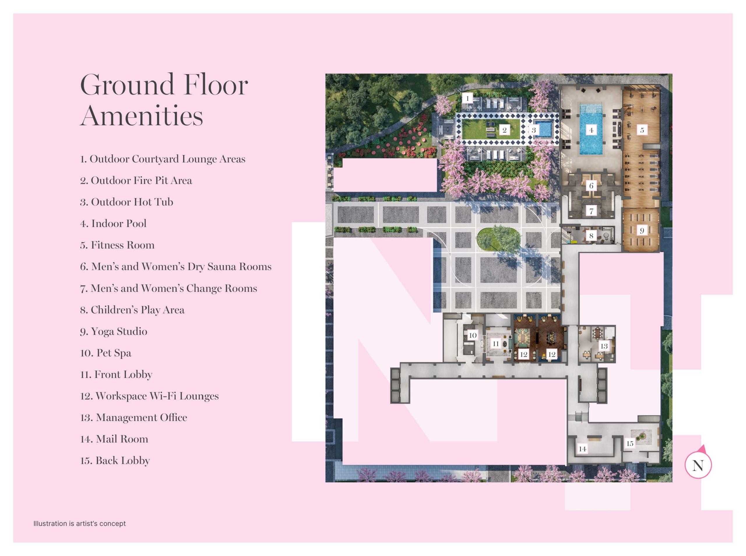 Sitemap of Notting Hill Condos ground floor amenities.