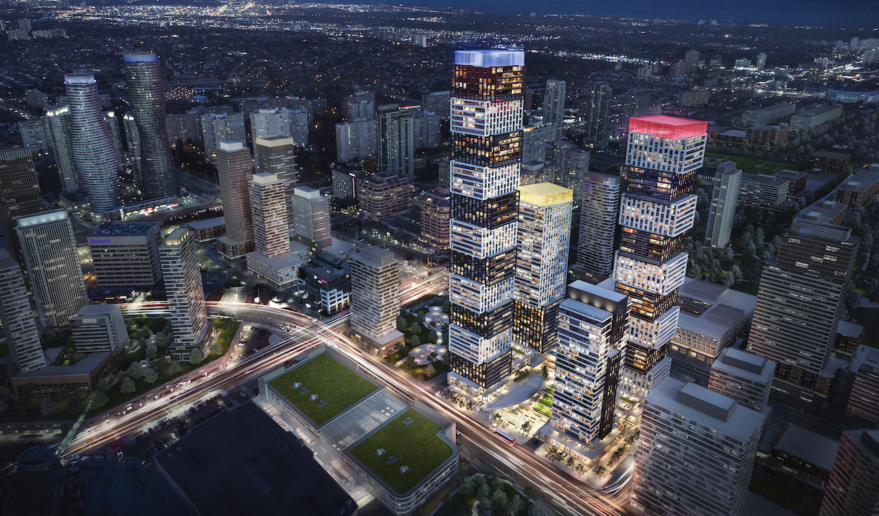 Evening rendering of Exchange District Condos in Mississauga