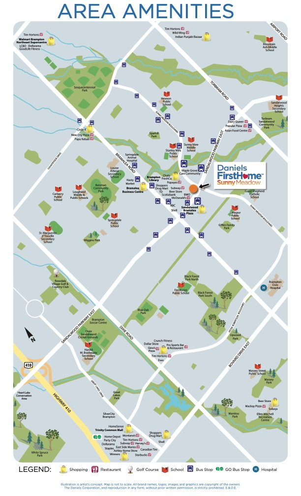 Area Amenities Map for Daniels FirstHome Sunny Meadow Townhomes