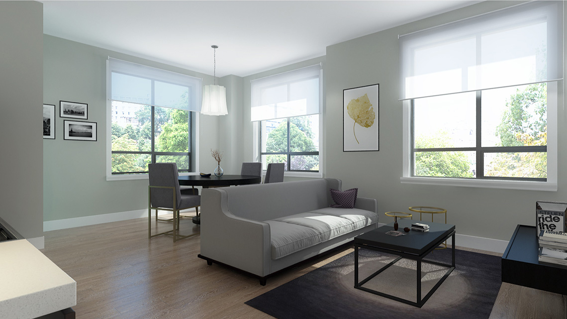 Rendering of Dellwood Park Urban Townhomes Unit Living Room