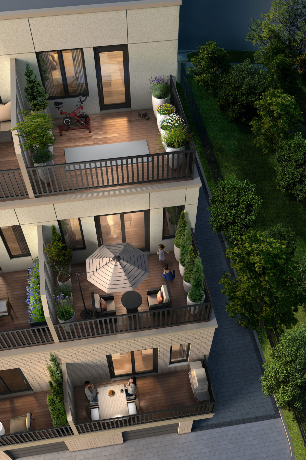 Rendering of Bartley Towns balcony from aerial point of view