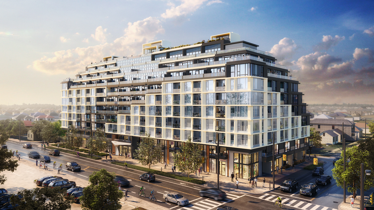 Rendering of The Dylan Condos exterior view.