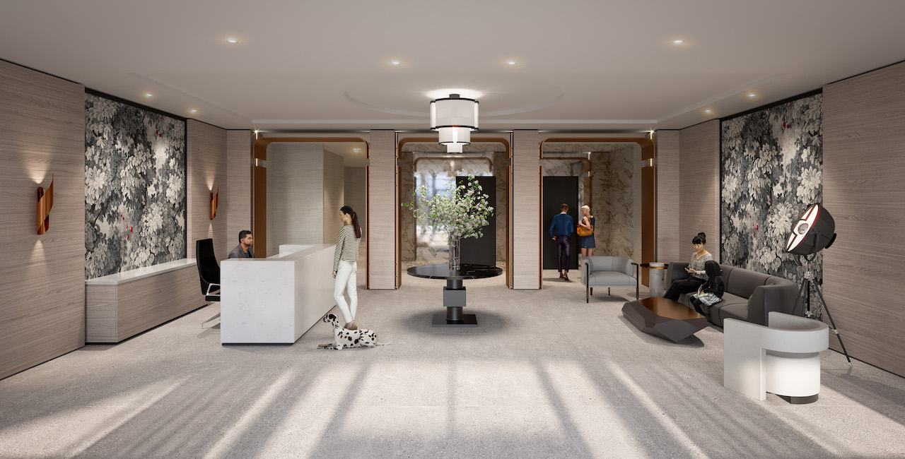 Rendering of The Dylan Condos lobby.