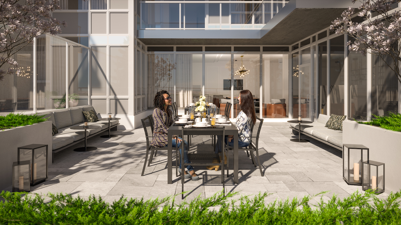 Rendering of The Dylan Condos south outdoor terrace.