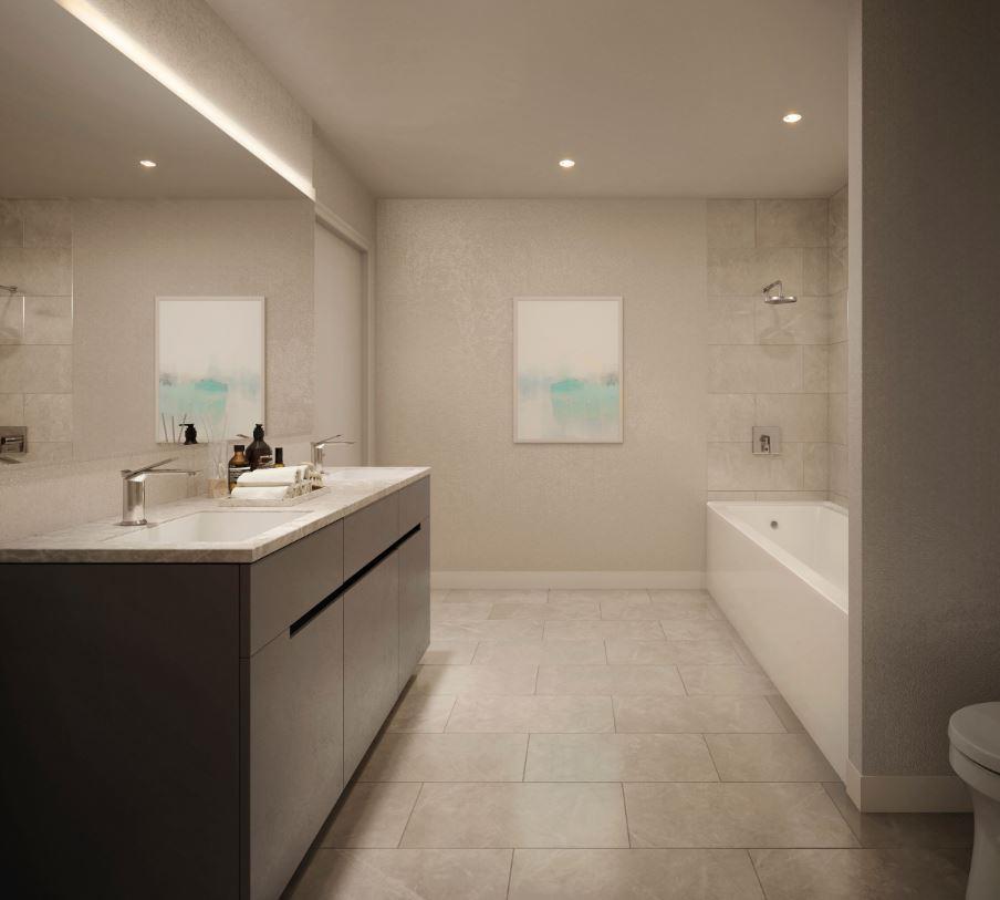 Rendering of St. Clair Village Condos interior 3-bedroom suite bathroom.