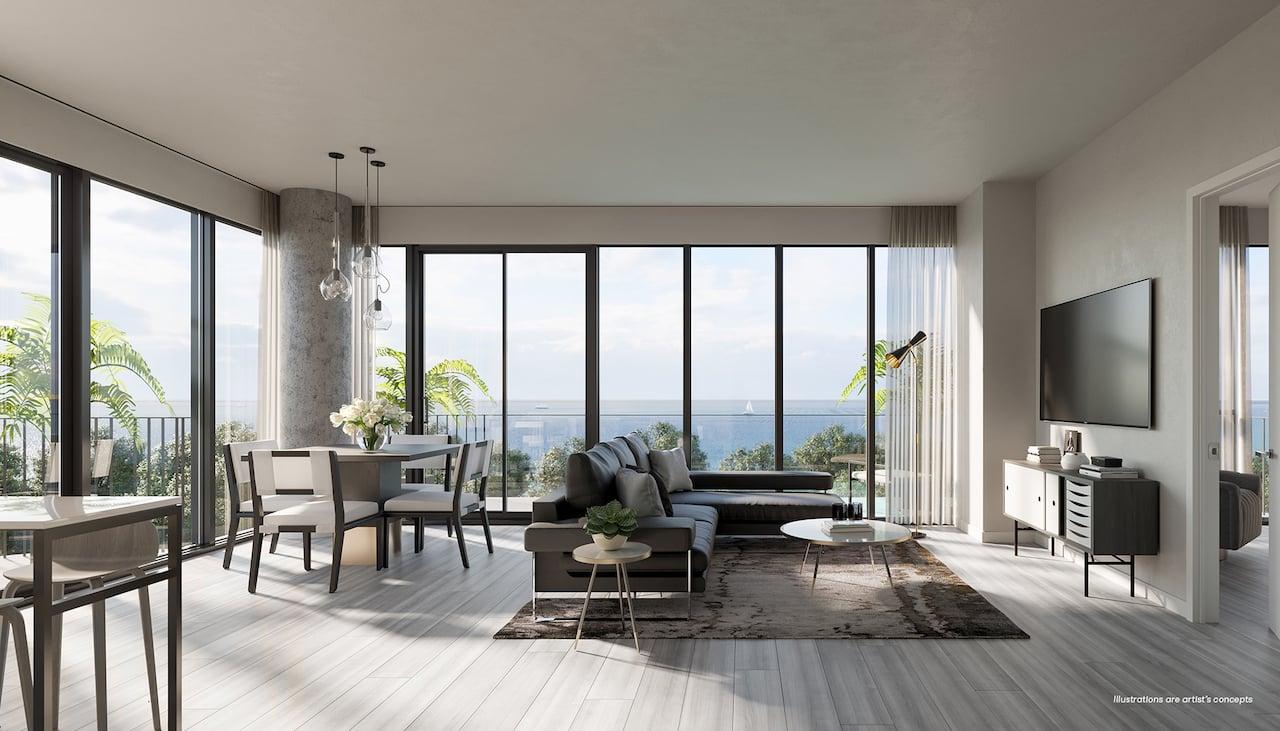 Brightwater Condos suite interior living room