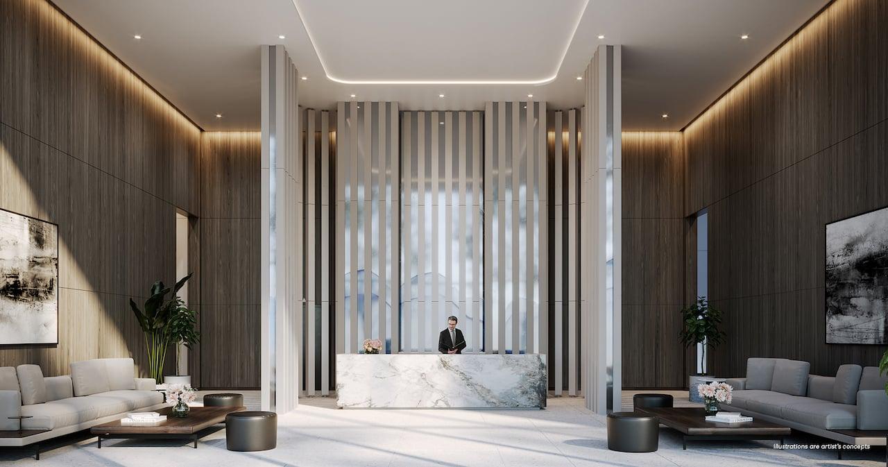 Brightwater Condos lobby with concierge