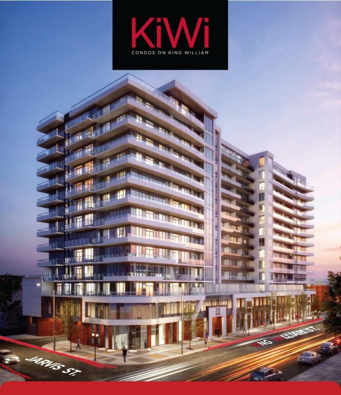 Rendering of KiWi Condos Hamilton with Logo Overlay