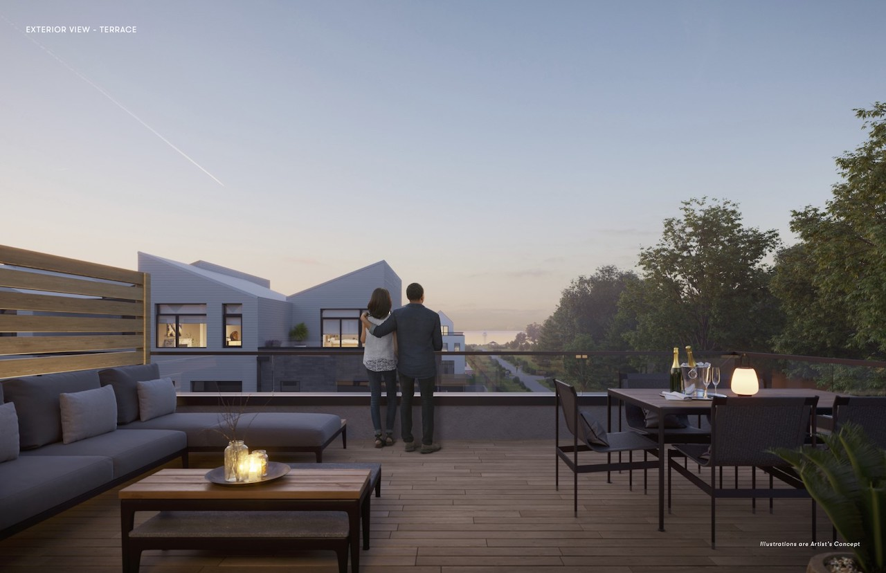 Exterior rendering of Brightwater Towns Terrace with Lake Ontario View