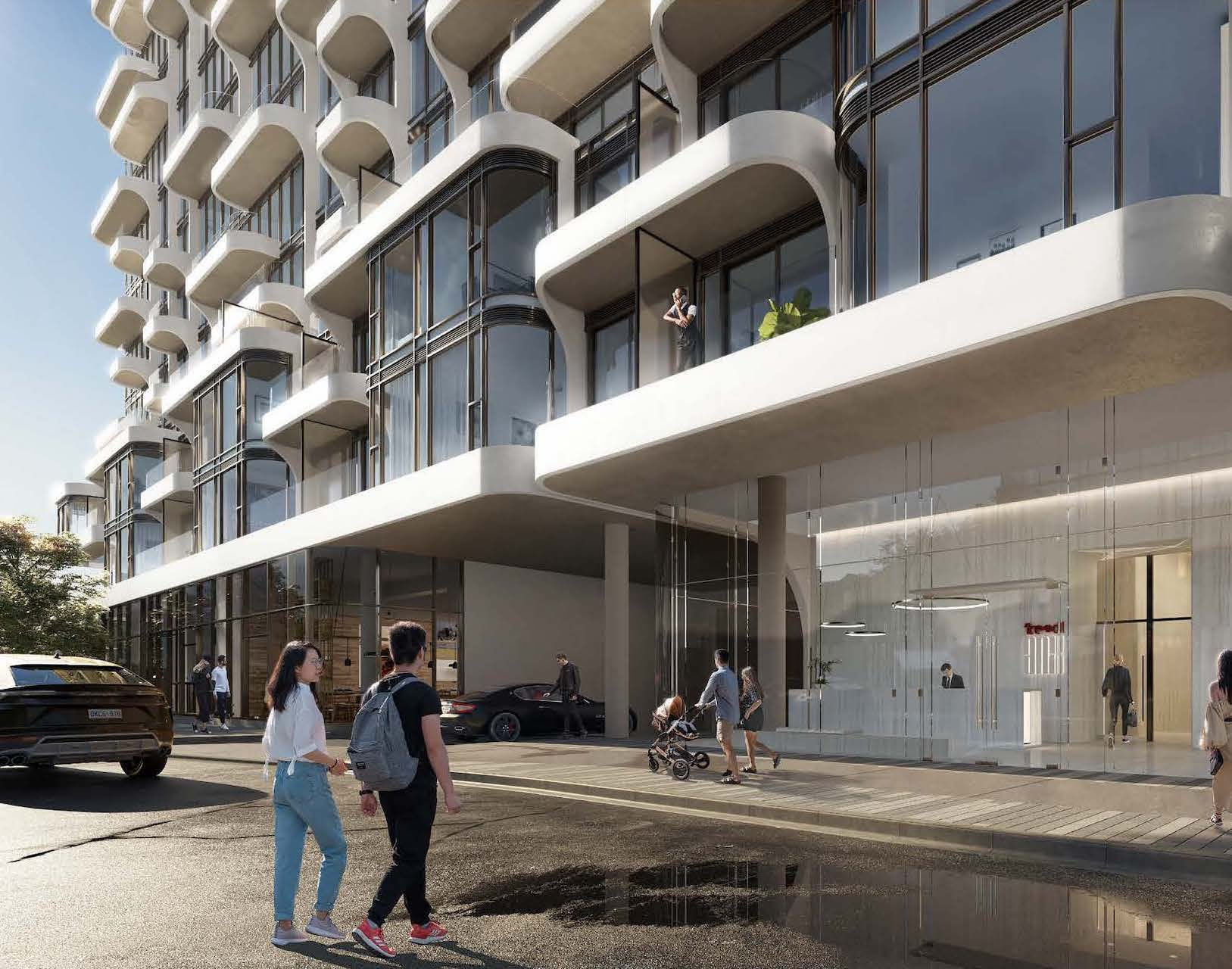 Exterior rendering of Anx on Dupont Condos entrance during the day.