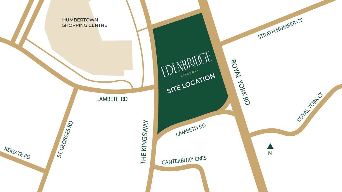 Map of Edenbridge Kingsway Condos and Surrounding Areas