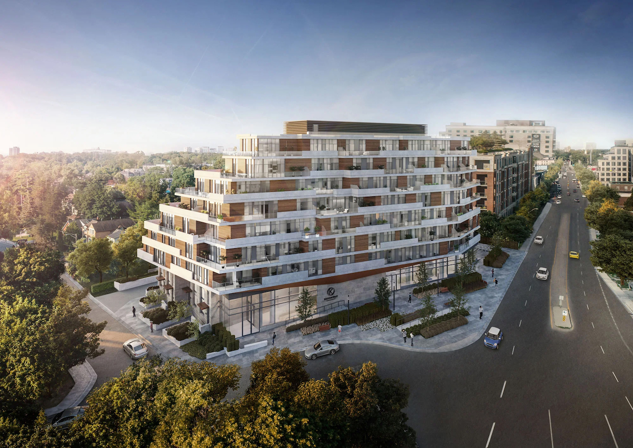 Aerial rendering of Kingsway Crescent Condos and Towns.