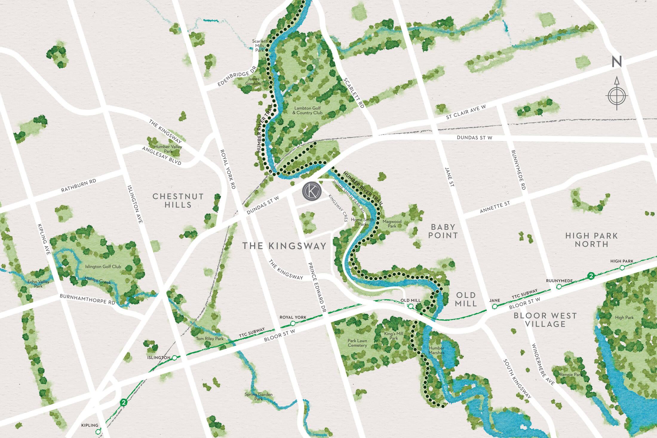 Map of Kingsway Crescent in Etobicoke.