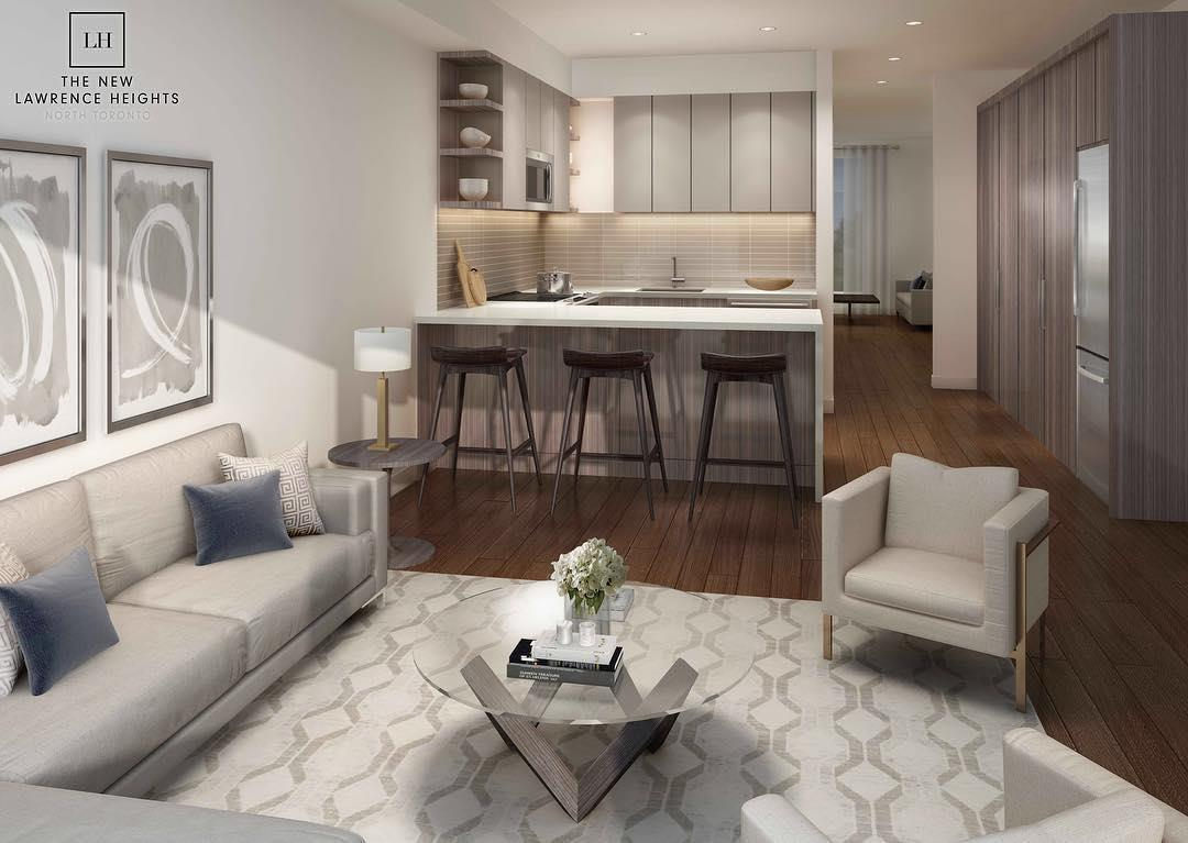 Interior Rendering of The New Lawrence Heights Towns Living Area