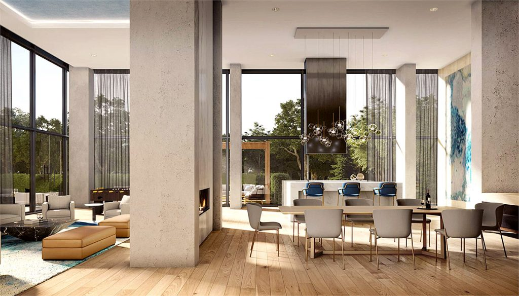 Lounge Rendering of Rise at Stride Condos