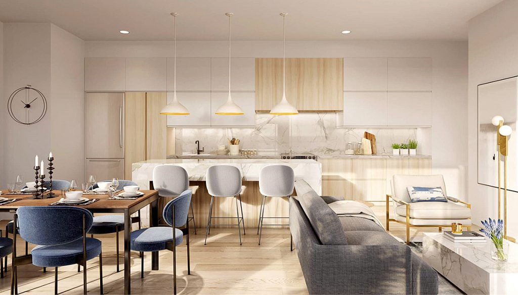 Unit Kitchen Rendering of Rise at Stride Condos