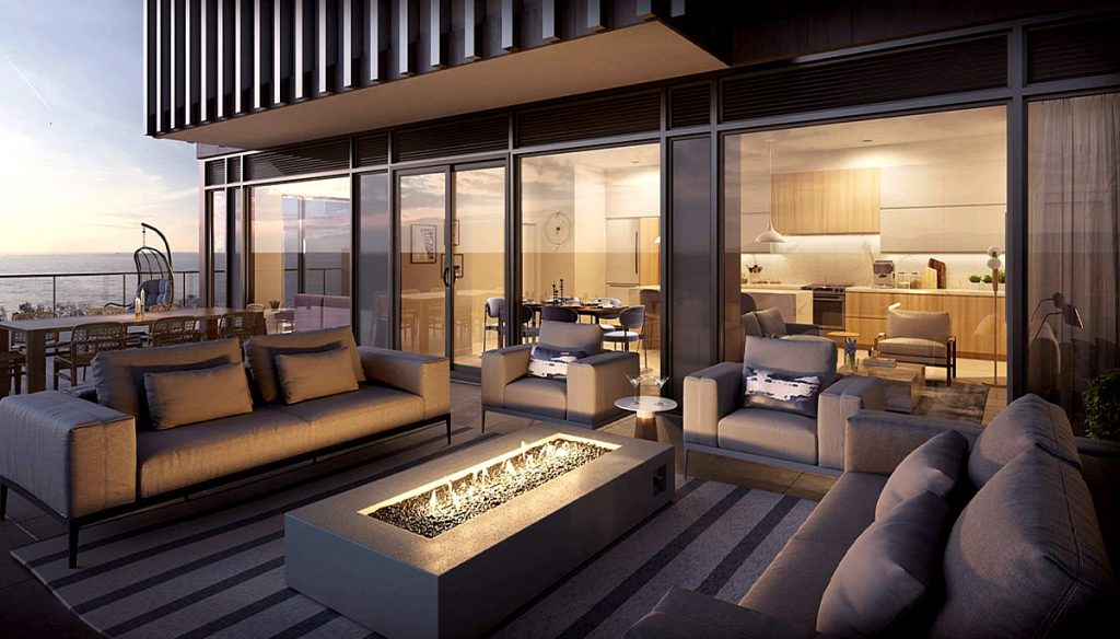 Unit Terrace Rendering of Rise at Stride Condos