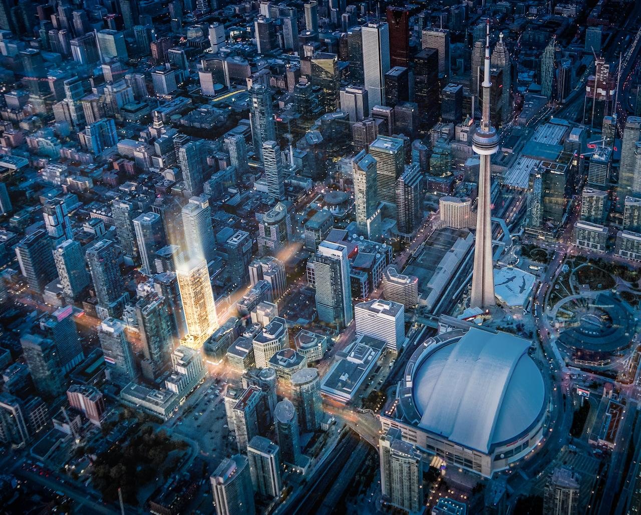 Rendering of 55 Mercer condos with CN Tower and Skydome.