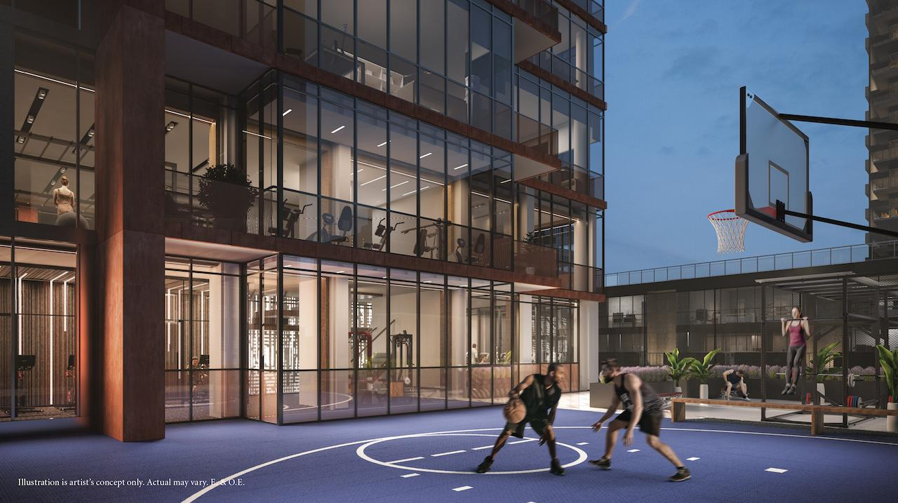 Rendering of 55 Mercer condos outdoor basketball court.