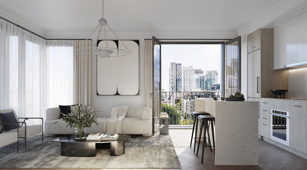 Interior rendering of 123 Portland condos open-concept suite.