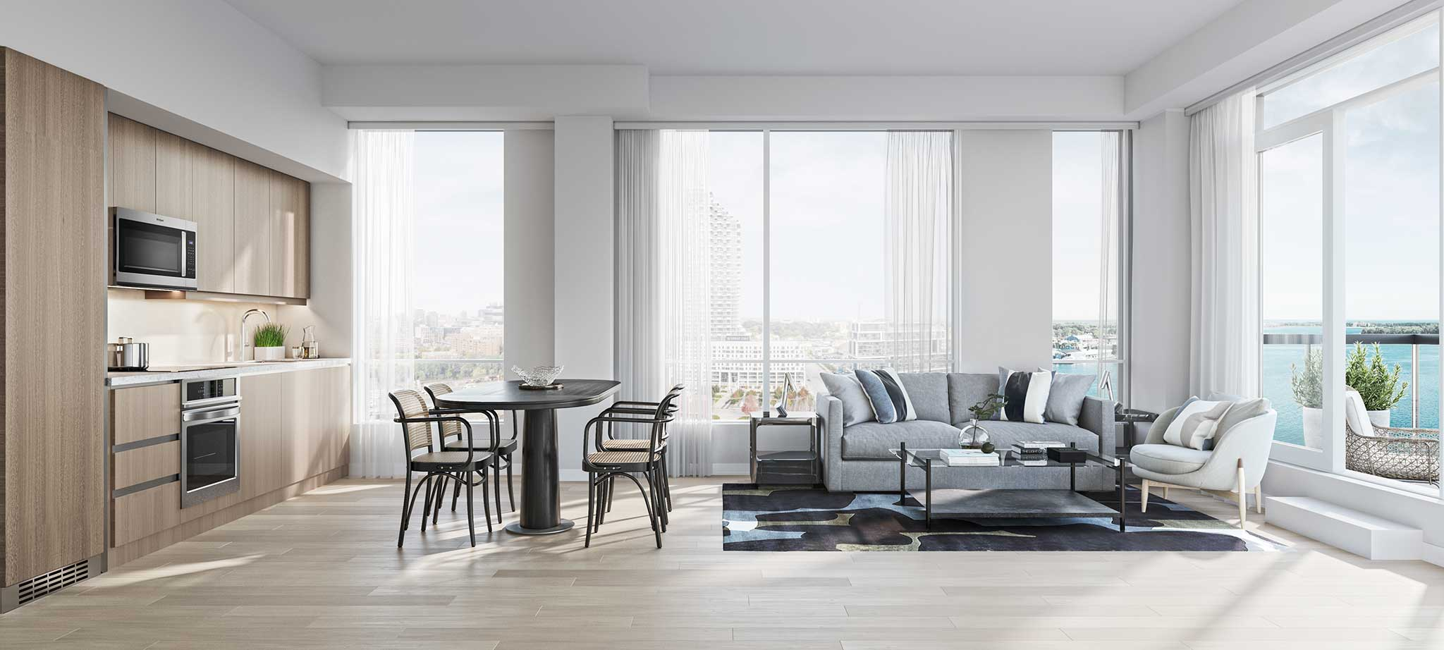 Rendering of Empire Quay House Condos open-concept suite.