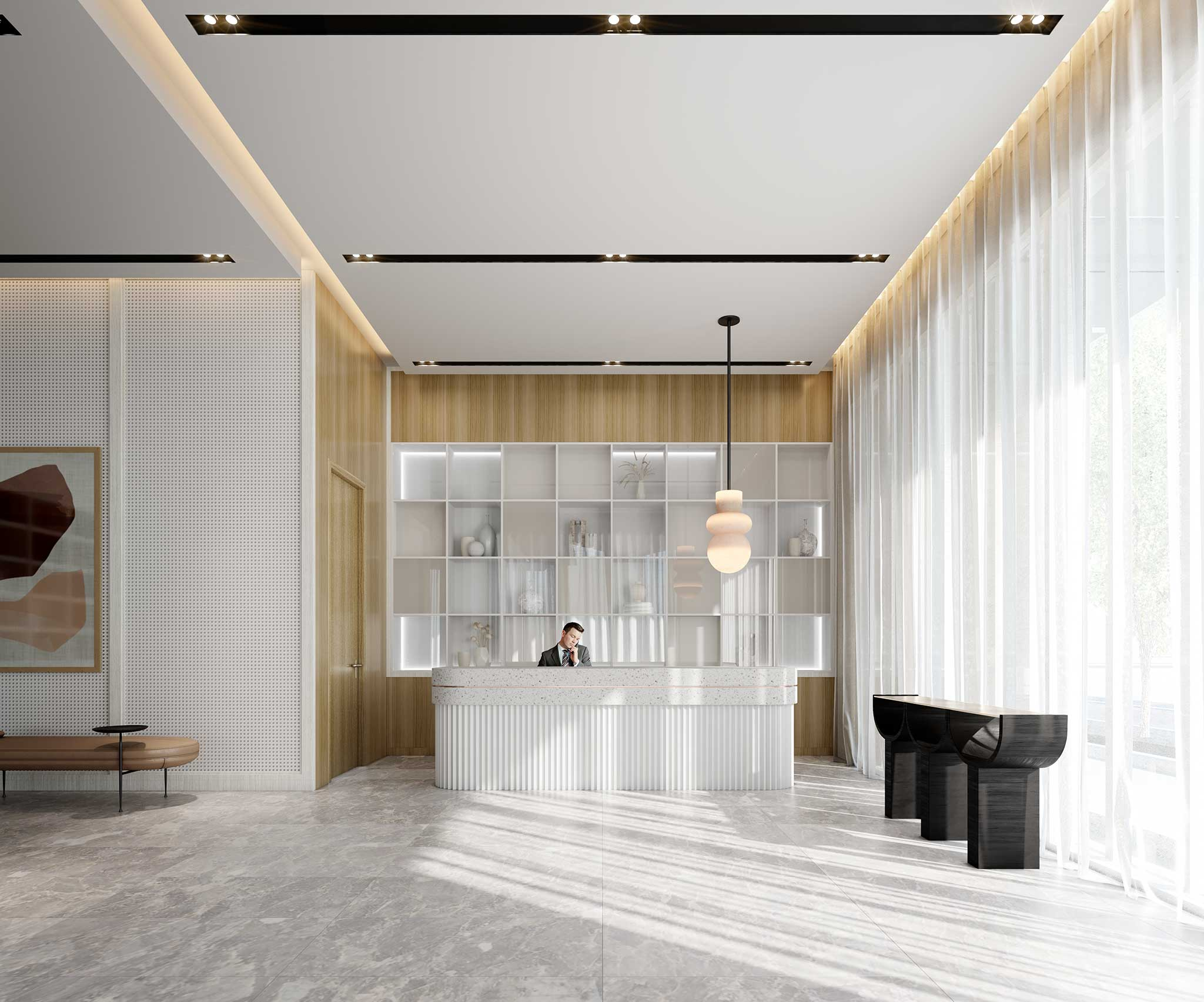Rendering of Empire Quay House Condos lobby.