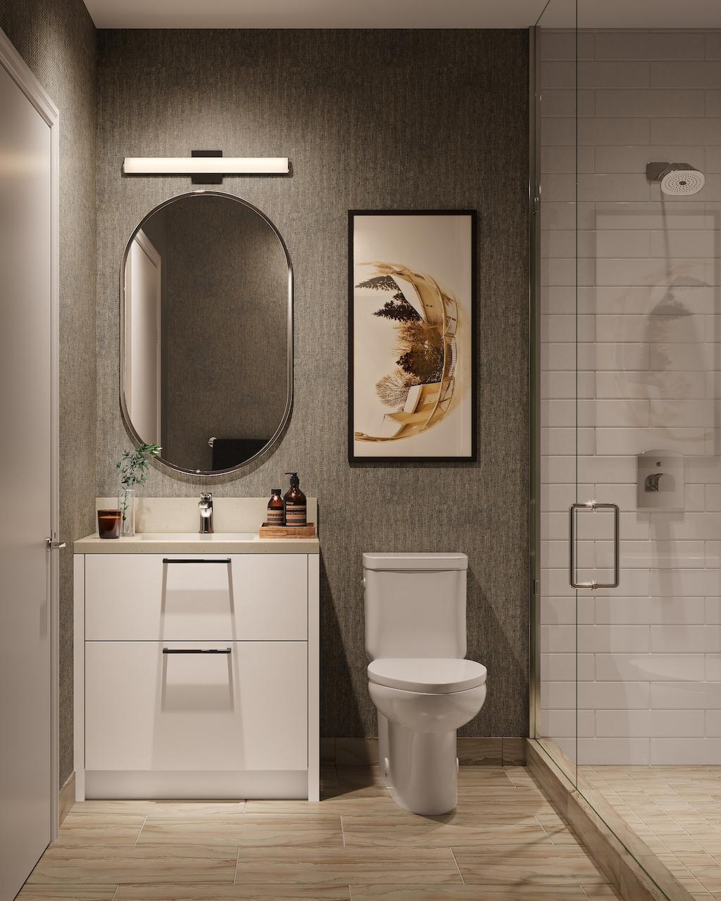 Rendering of The Manderley Condos interior suite bathroom.