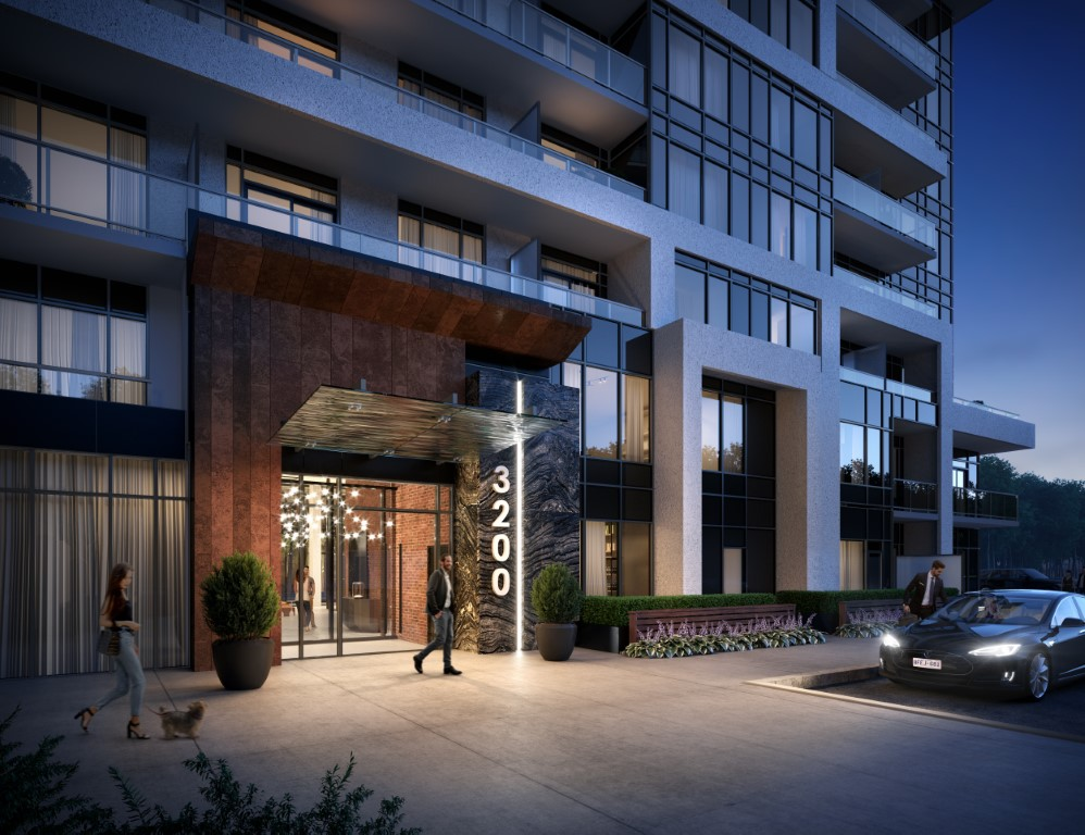 Rendering of Upper West Side Condos courtyard entry at night.