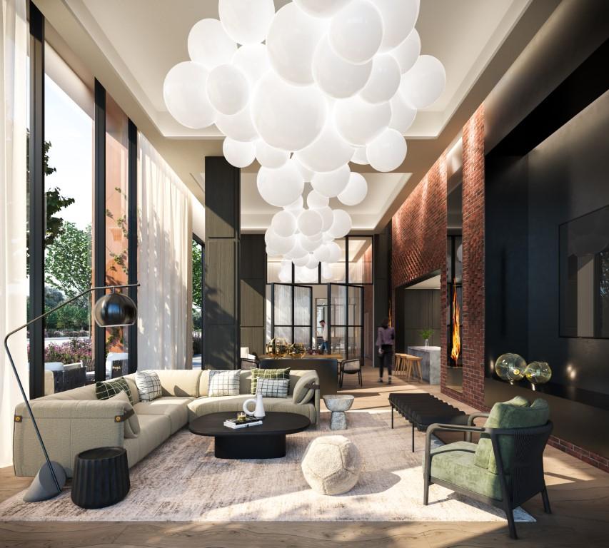 Rendering of Upper West Side Condos interior coworking space.