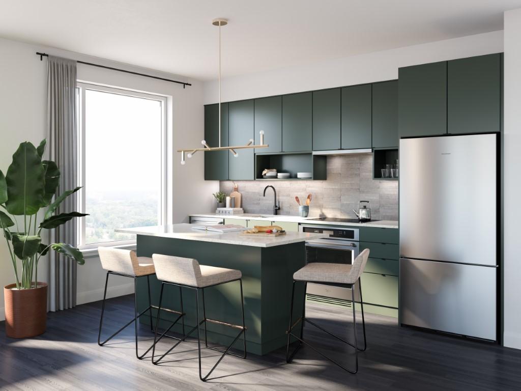 Rendering of Upper West Side Condos suite interior kitchen.