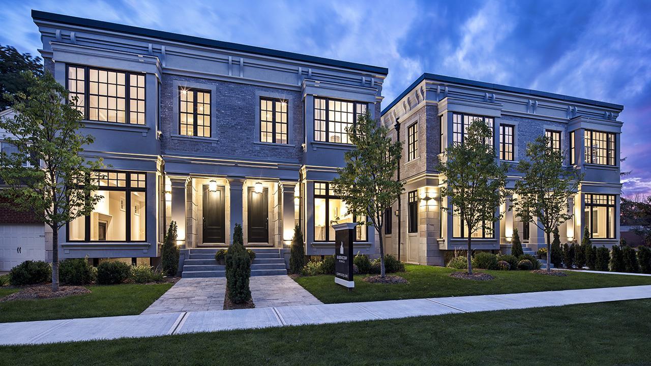 Full exterior rendering for Elmwood Homes.