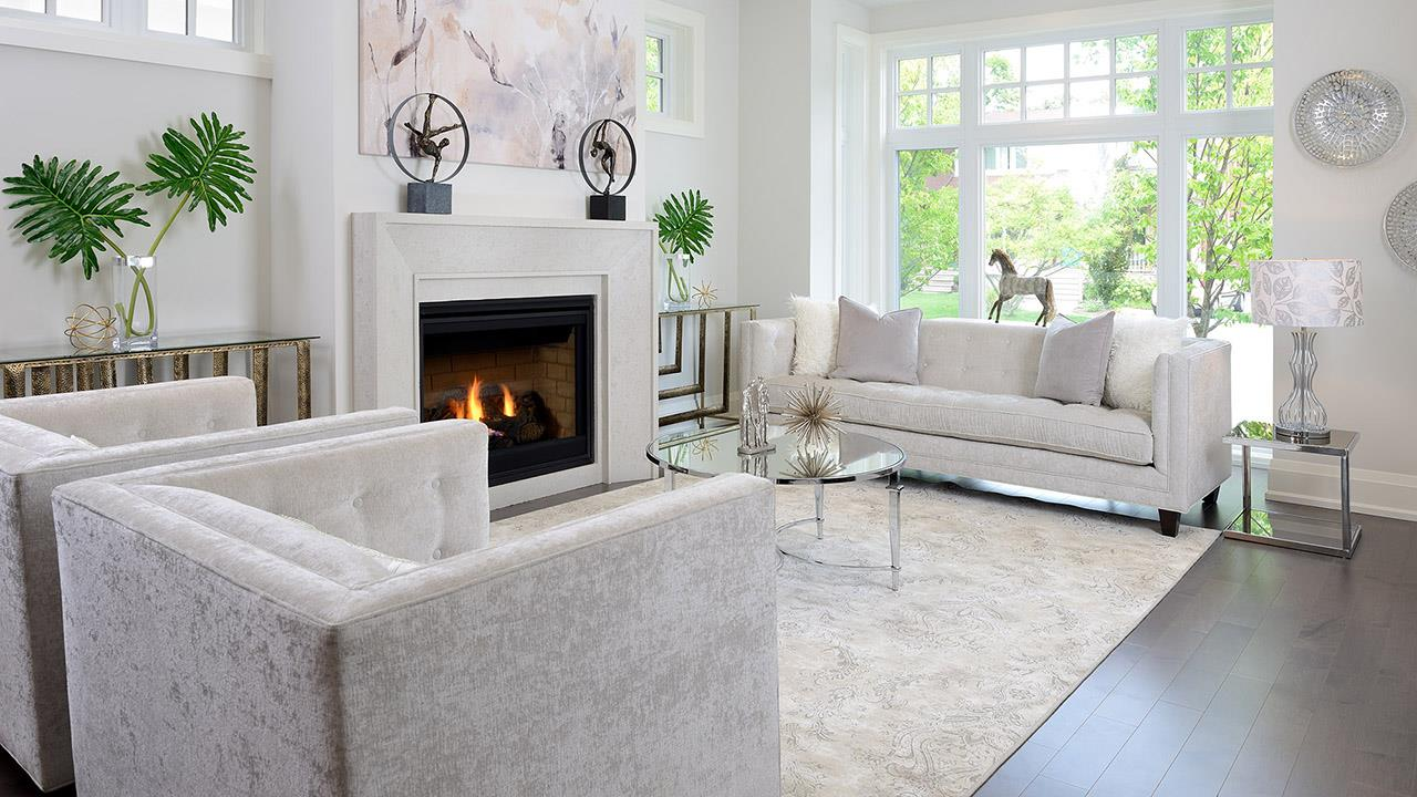 Living room with fireplace rendering for Elmwood Homes.