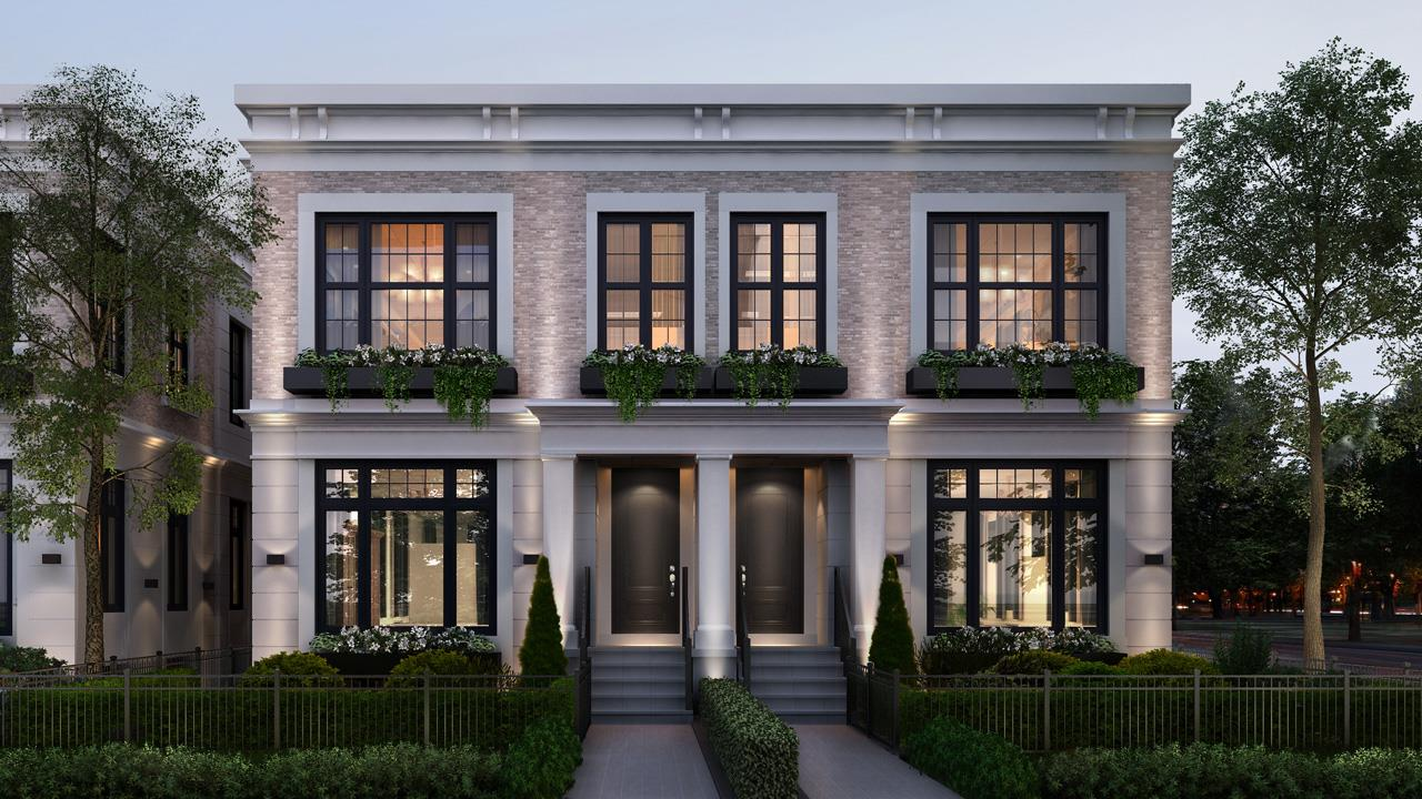 Exterior front-facing rendering for Elmwood Homes.