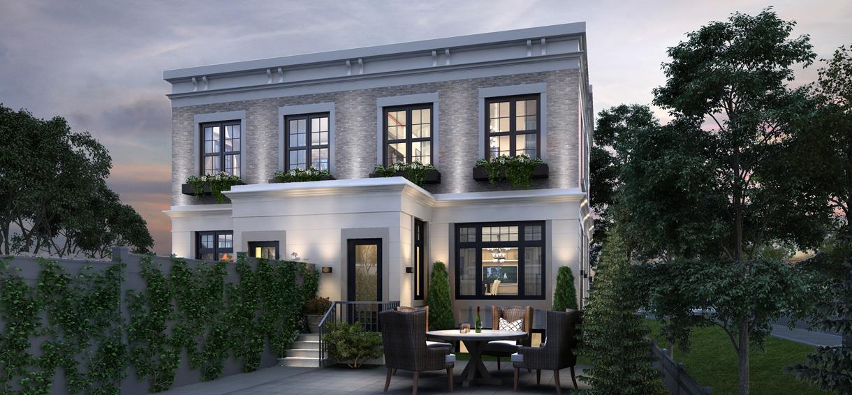 Exterior back terrace rendering for Elmwood Homes.